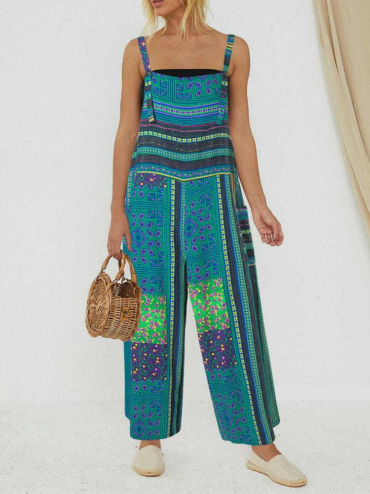 Print Straps Pockets Plus Size Jumpsuit for Women
