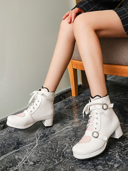 Milanoo Sweet Lolita Boots White Round Toe Heart PU Leather Lolita Boots
