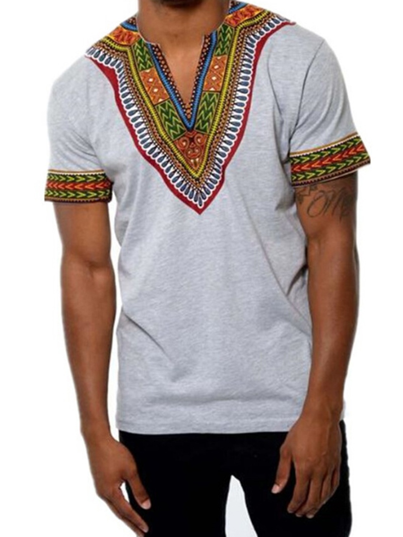 Ericdress African Fashion V-Neck Dashiki Print Short Sleeve Men's T-Shirt
