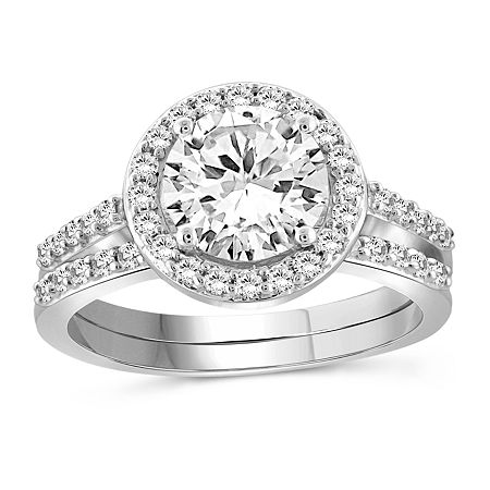 Womens White Cubic Zirconia Sterling Silver Engagement Ring, 6 , No Color Family