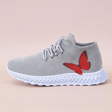Lace-up Decor Butterfly Graphic Sneakers