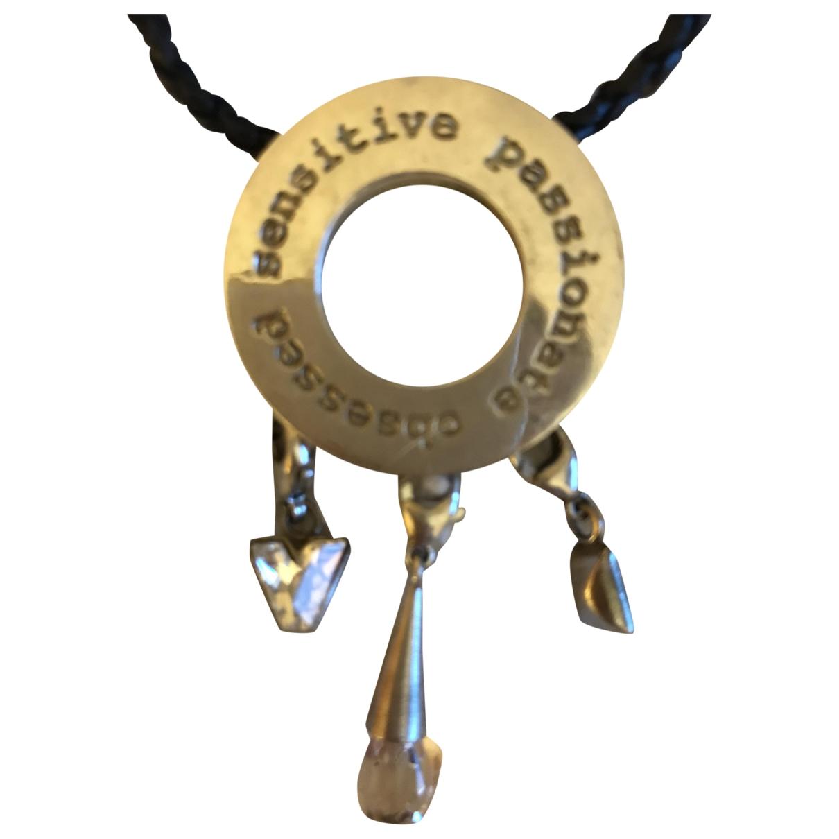 Non Signe / Unsigned \N Halskette in  Silber Leder