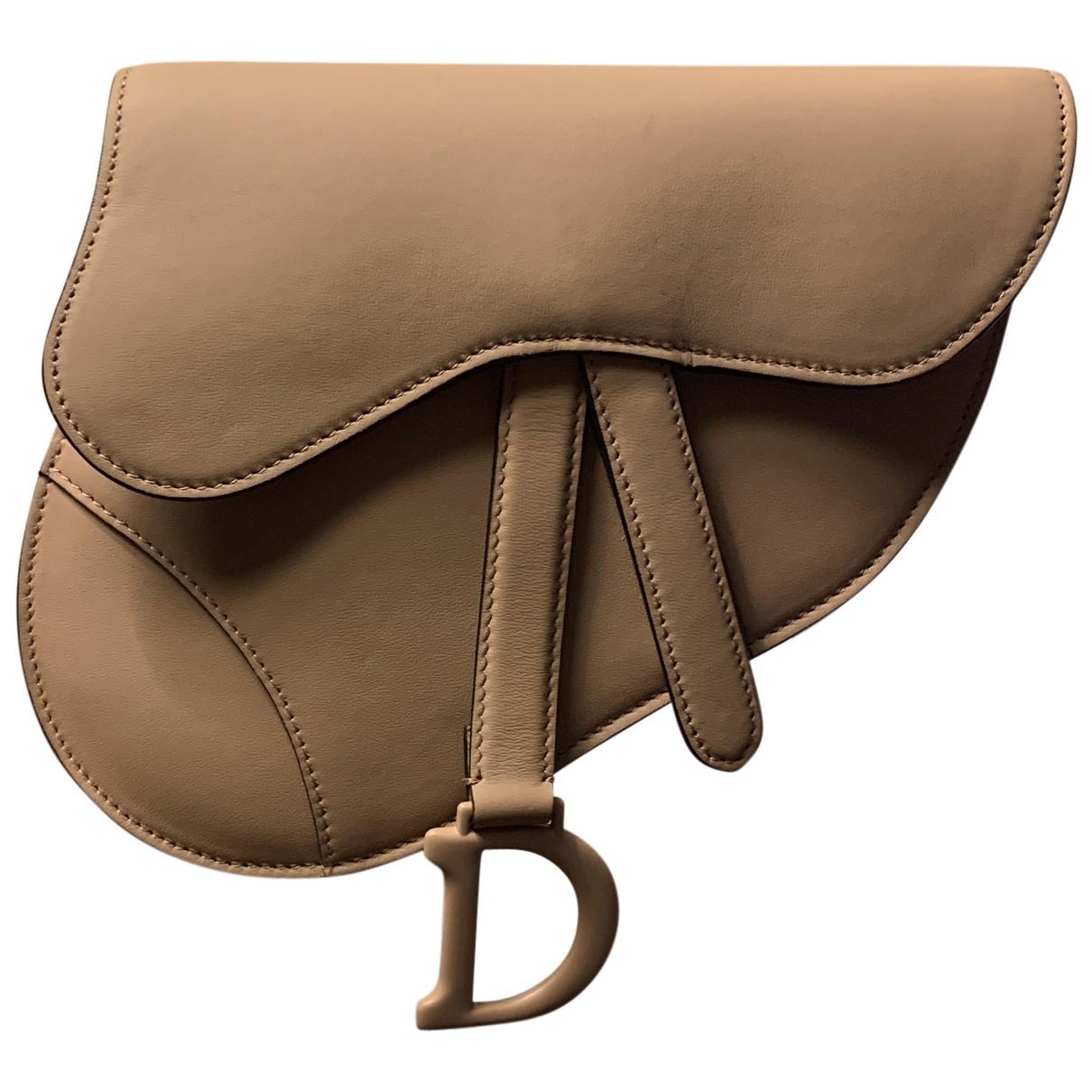 Dior - Pochette Saddle pour femme en cuir - beige