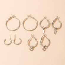 4pairs Simple Hoop Earrings