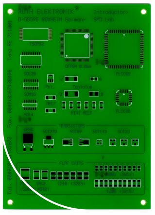 Roth Elektronik RE711001-LF, Single-Sided SMD Soldering Exercise Board FR4 for 57 Multiple Types Packages 100 x 140 x 1.5mm