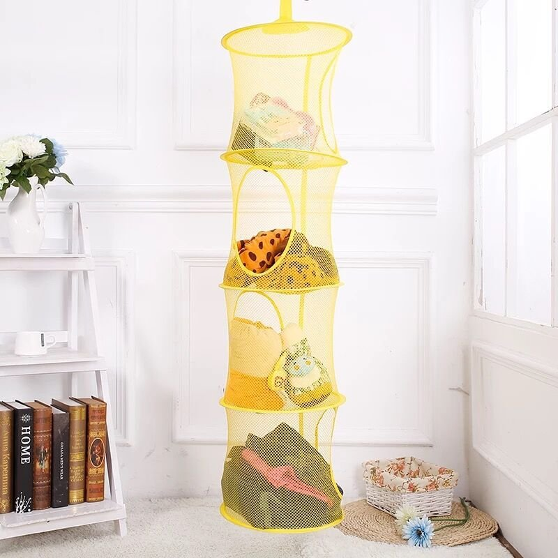 4 Layer Cylindrical Foldable Hanging Basket Polyester Toy Clothes Organizer Storage Cage Basket