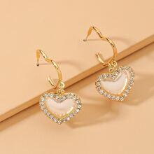 Rhinestone Heart Charm Drop Earrings