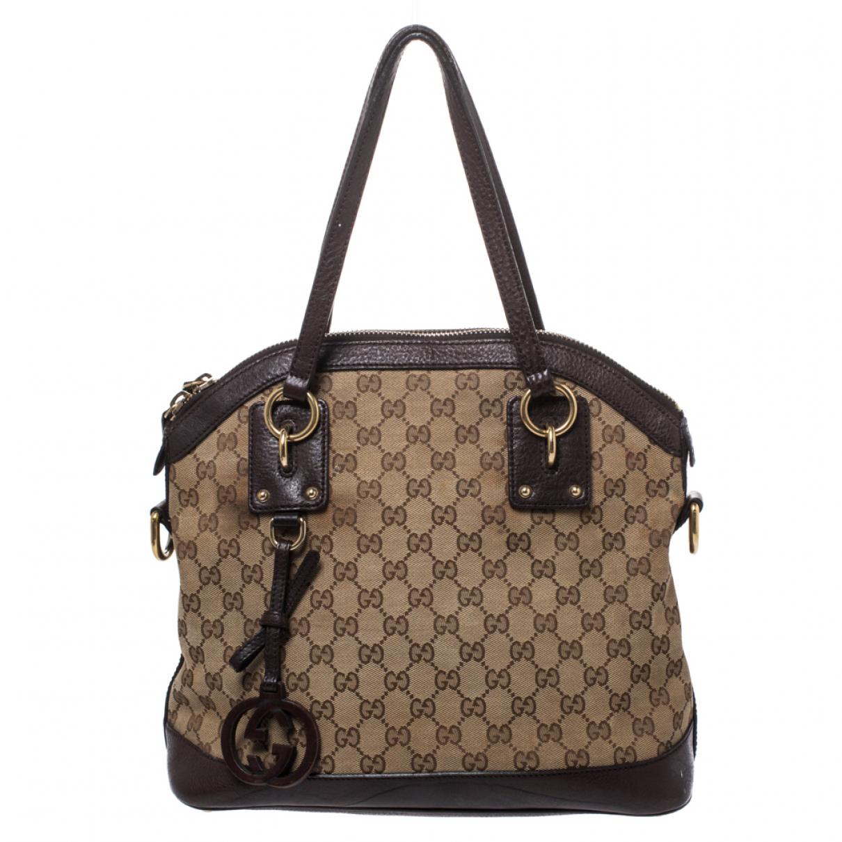 Gucci Interlocking Handtasche in  Beige Leder
