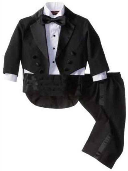 Baby Boys Notch Lapel Black Tuxedo Suit
