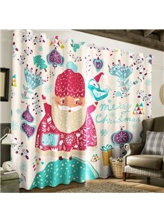 3D Cartoon Santa Claus and Christmas Decorations Printed 2 Panels Living Room Curtain