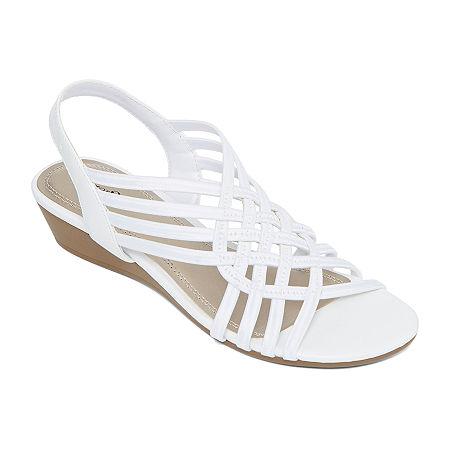 east 5th Womens Reno Wedge Sandals, 8 Medium, White