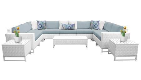Miami MIAMI-12a-SPA 12-Piece Wicker Patio Furniture Set 12a with 2 Corner Chairs  5 Armless Chairs  2 End Tables  1 Coffee Table  1 Left Arm Chair