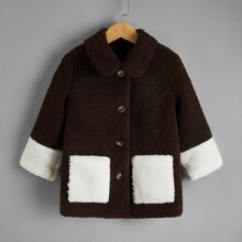 Toddler Boys Tow Tone Dual Pocket Teddy Coat