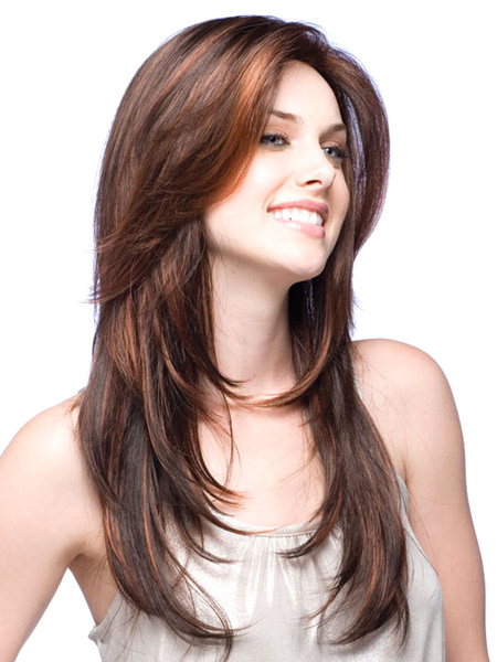 Milanoo Urban Brown Synthetic Straight Long Wig For Woman