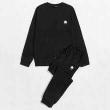 Pullover mit Pflanzen & Buchstaben Grafik & Jogginghose Set