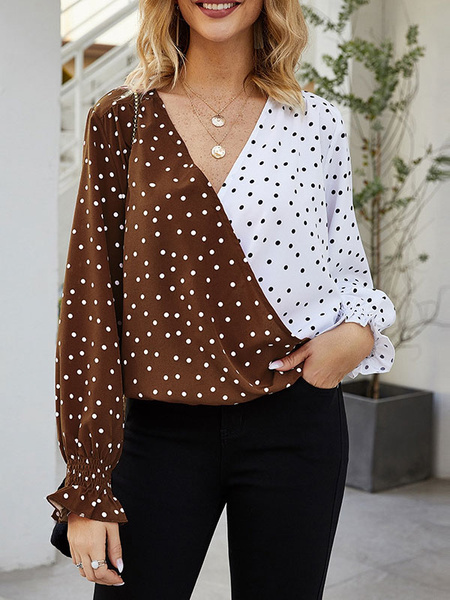 Milanoo Polka Dot Blouse Women Two Tone V Neck Long Sleeves Tops