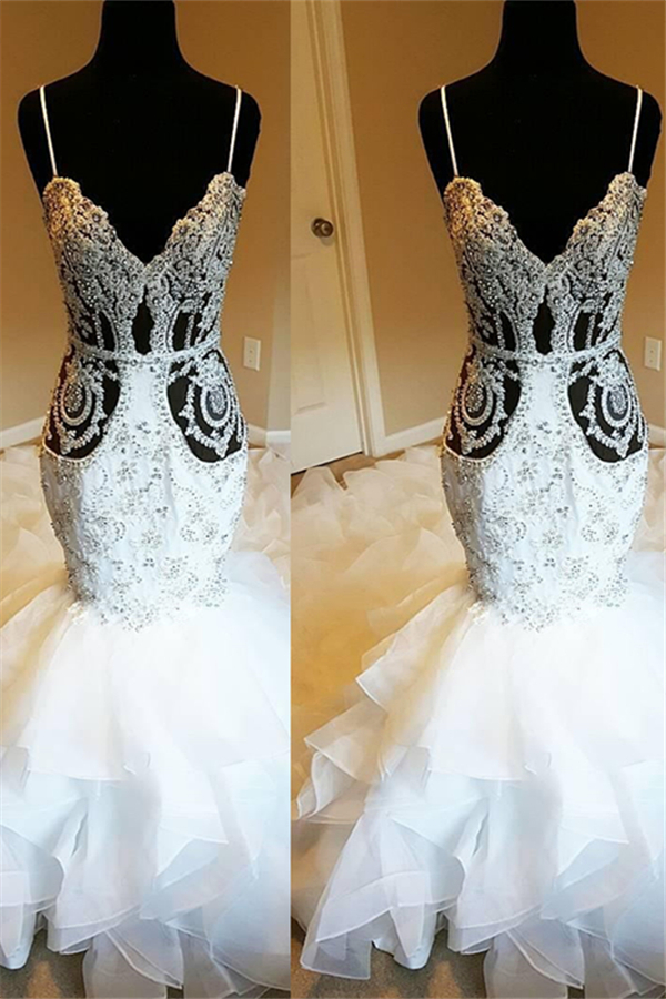 Vestido de novia de volantes de sirena transparente con tirantes de espagueti