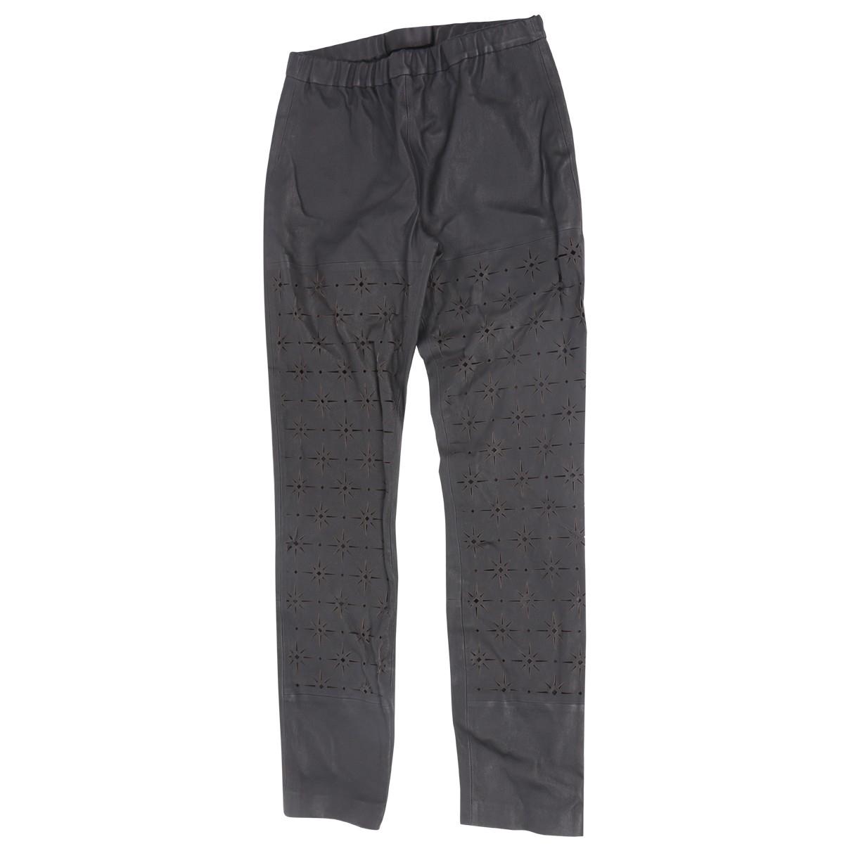 Haider Ackermann \N Black Leather Trousers for Women 40 FR