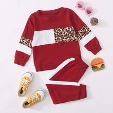 Leopardenmuster  Sportlich  Kleinkind Maedchen zweiteilige Outfits