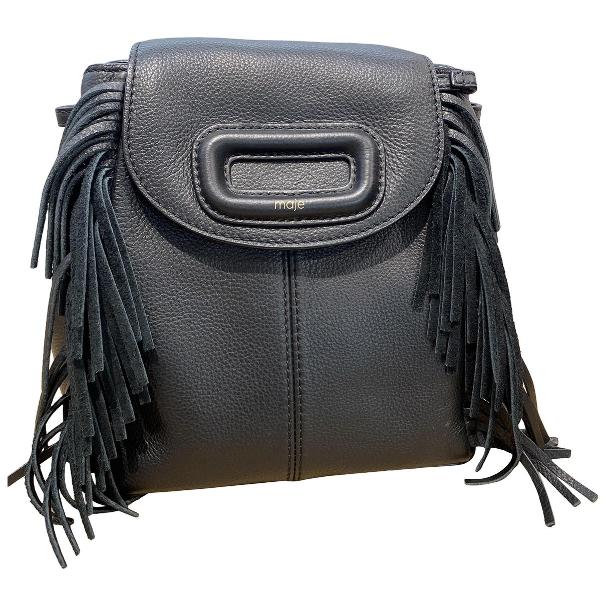 Maje - Sac a dos Sac M pour femme en cuir - noir