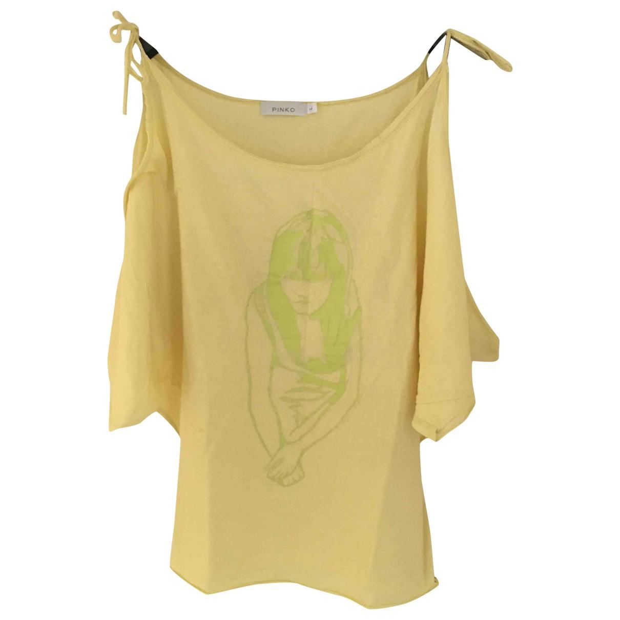 Pinko - Top   pour femme en coton - jaune