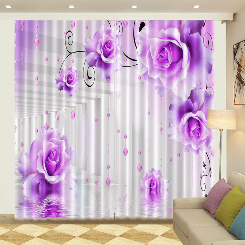 Blush Pink Curtains 3D Flower Print Room Darkening Curtains with Classy Silky Satin Polyester Provides an Elegant Look and Silky Soft Touch Machine Wa