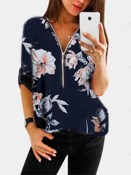 Yoins Navy Random Floral Print Zip Design V-neck Adjustable Sleeve Length Blouse
