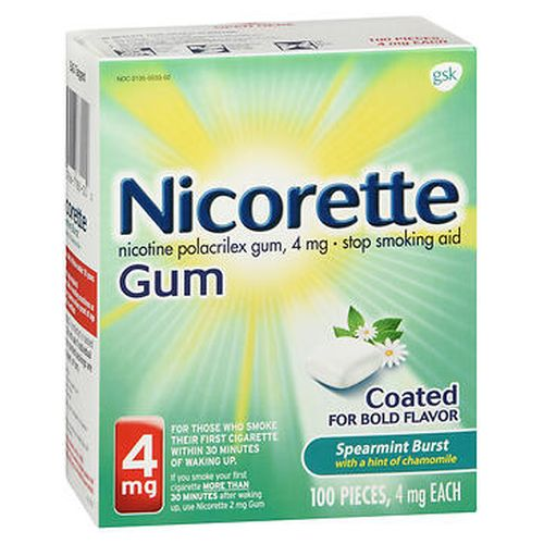 Nicorette Stop Smoking Aid Gum Spearmint Burst with a Hint of Chamomile 100 Each by Nicorette