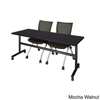 Kobe Black 72-inch Flip-top Mobile Training Table and 2 Apprentice Chairs (Mocha Walnut)