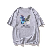 T-Shirt mit Schmetterling & Buchstaben Grafik