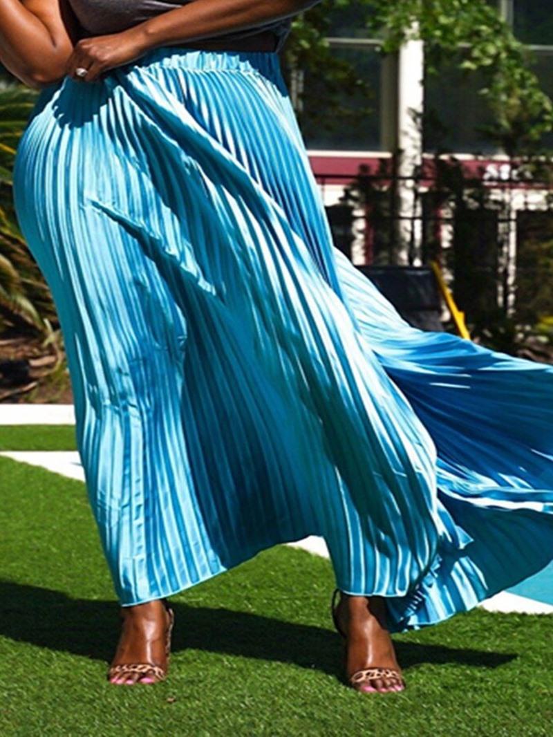 Ericdress Pleated Plain Maxi Long Skirt