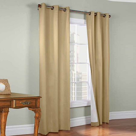 Weathermate Energy Saving Blackout Grommet-Top Set of 2 Curtain Panel, One Size , Beige