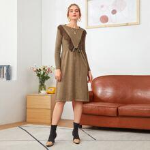 Kleid mit Kontrast Spitzen und Knoten