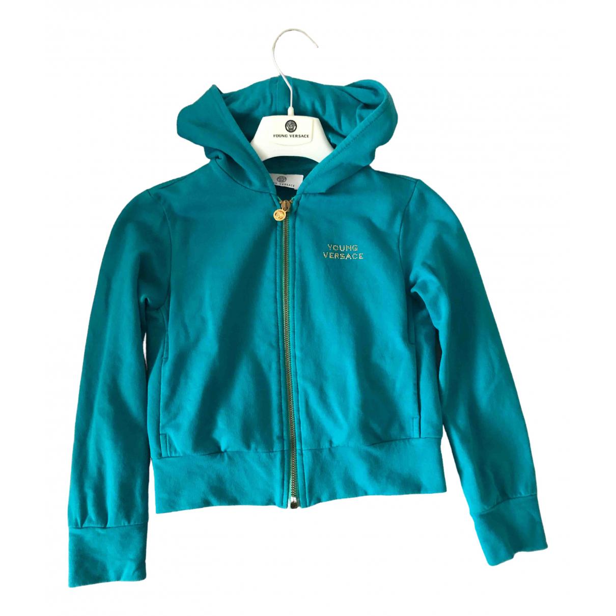 Versace - Pull   pour enfant en coton - turquoise