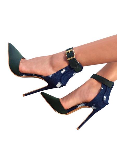 Milanoo Zapatos de tacon de puntera puntiaguada con pala de gamuza de oliva de color-blocking de tacon de stiletto