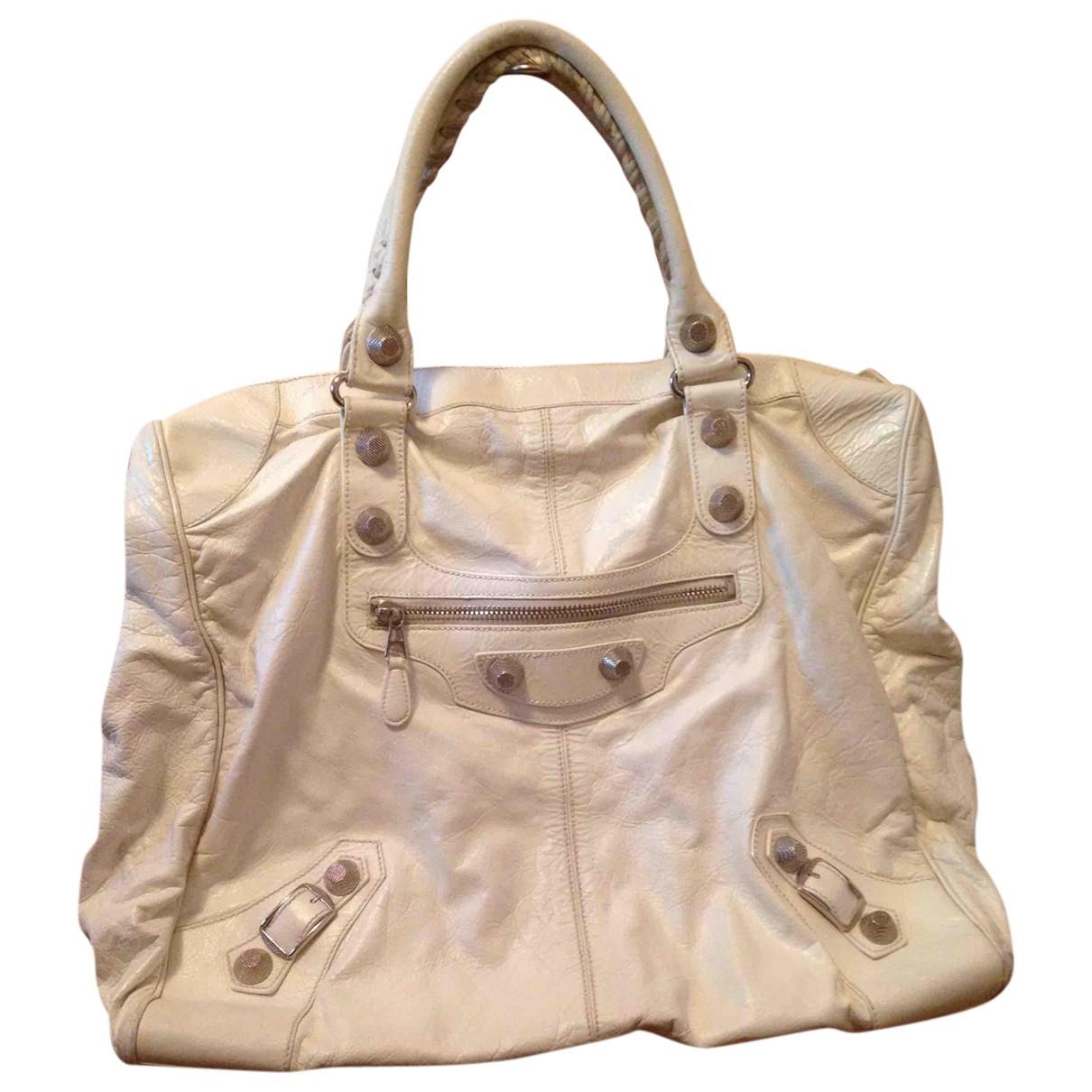 Balenciaga - Sac a main Velo pour femme en cuir - blanc