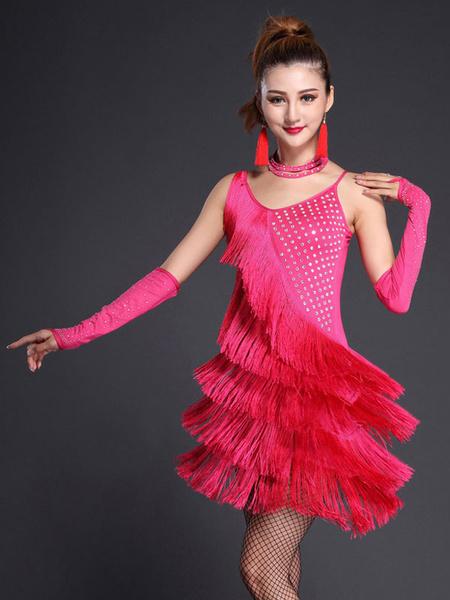Milanoo Dance Costumes Latin Dancer Dresses Black StrapsFringe Milk Silk Dancing Clothes Halloween