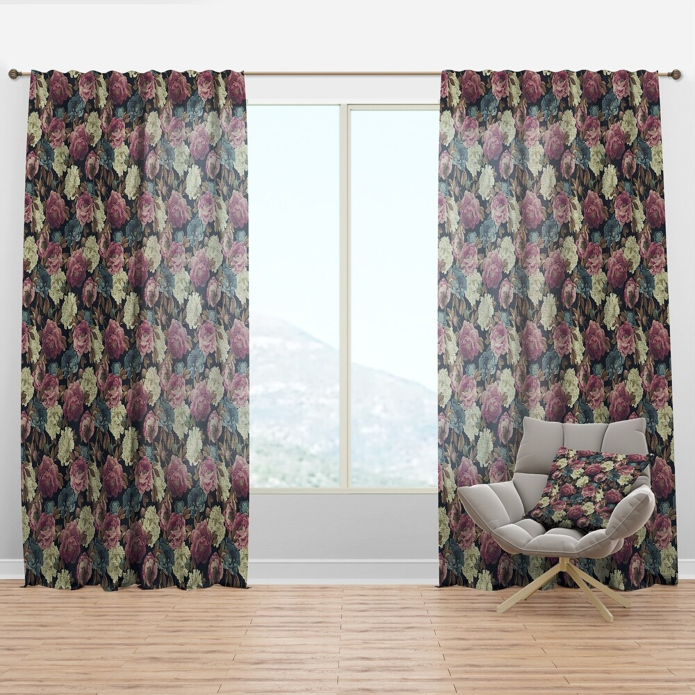 Designart 'Pink , White and Blue Peonies' Floral Curtain Panel (50 in. wide x 84 in. high - 1 Panel)