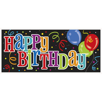 Multicolor Party Bold Happy Birthday Plastic Wall Banner, 60