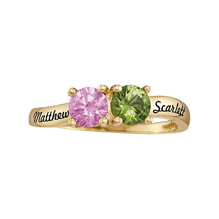 Personalized Simulated Birthstones Couples Ring, 8 , Yellow