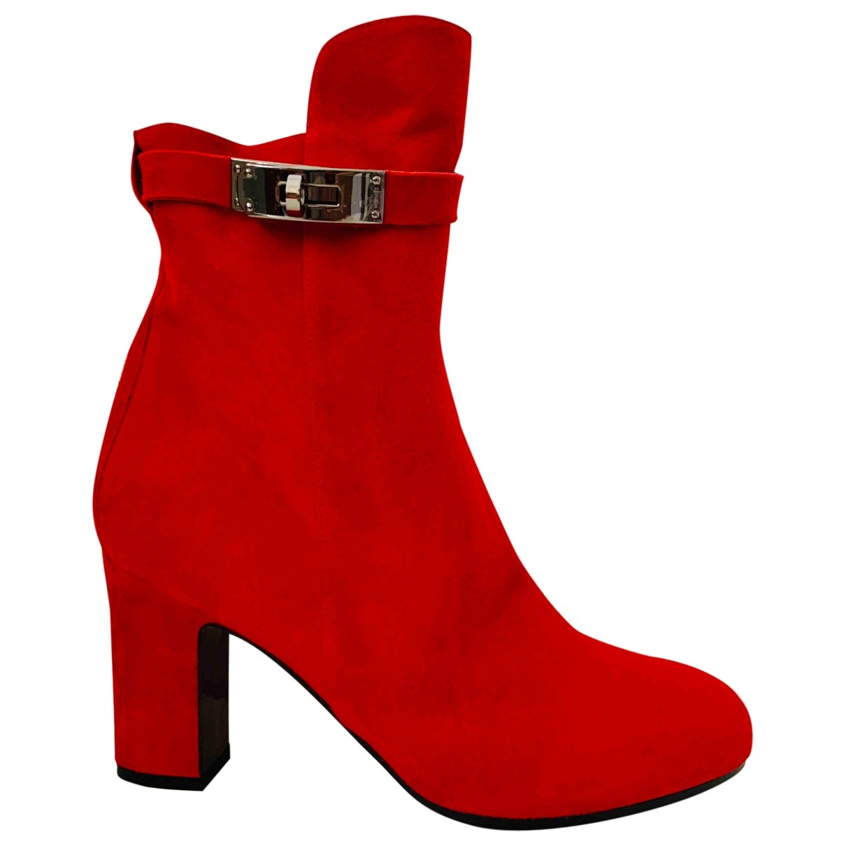 Hermès Joueuse Red Suede Ankle boots for Women 39.5 EU