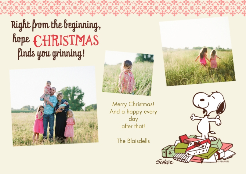 Christmas Photo Cards 5x7 Cards, Premium Cardstock 120lb with Elegant Corners, Card & Stationery -Snoopy Right From the Beginning