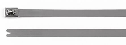 HellermannTyton , MBT8HS-304 Series Metallic 304 Stainless Steel Roller Ball Cable Tie, 201mm x 7.9 mm