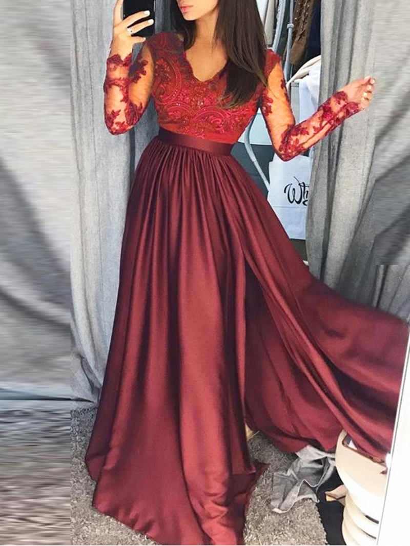 Ericdress Long Sleeve V-Neck Lace Dress