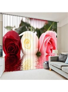 Delicate Colorful Roses Printed 3D Polyester Curtain