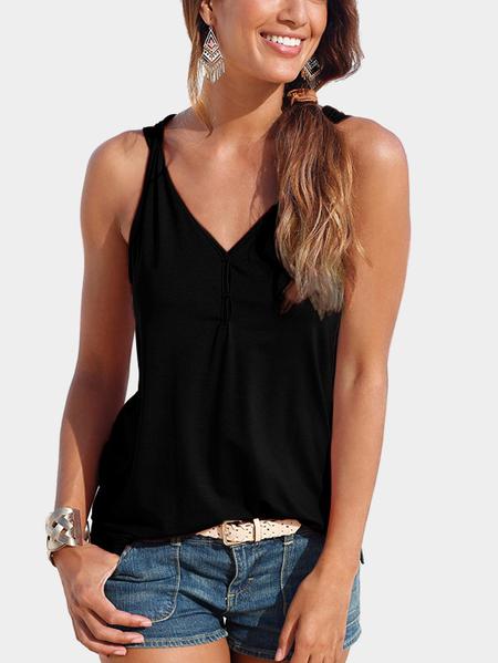 Yoins Black V-neck Button design Top