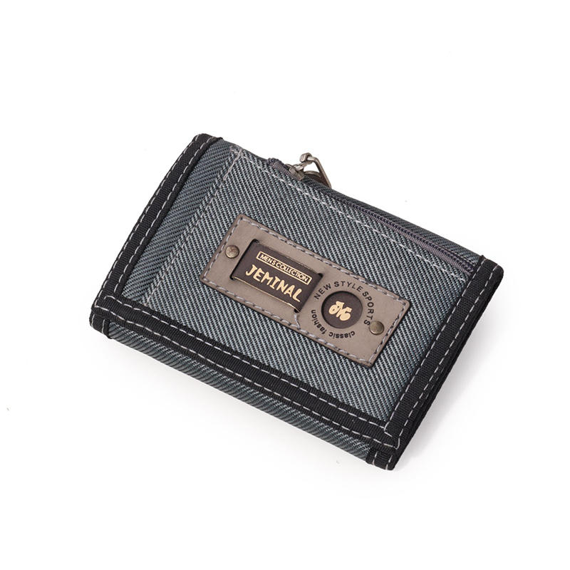 Men Casual Canvas Lightweight Short Wallet Card Holder