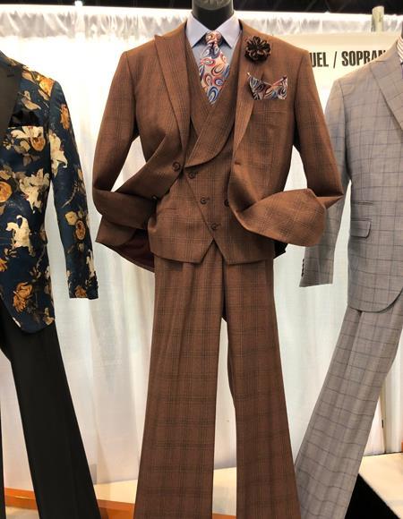 Mens Vintage Plaid ~ Windowpane Vested Suit 3 Pieces Regular Fit Dark Brown