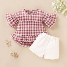 Toddler Girls Plaid Ruffle Hem Blouse & Shorts