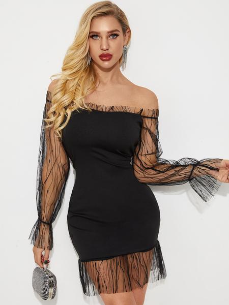 YOINS Black Mesh Patchwork Off The Shoulder Long Sleeves Dress